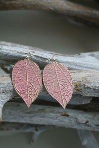 Oorbellen Leaf Pink